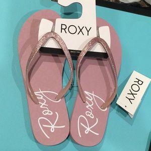 Roxy Flip Flops w/ Glitter Pink Strap - NWT